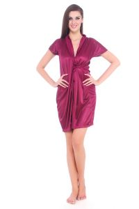 Fasense Women Satin Nihgtwear Sleepwear Night Gown / Robe Dp066 A