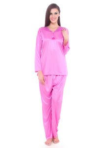 Fasense Women Satin Nightwear Sleepwear Pyjama Set Night Suit Dp069 A