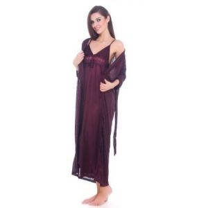 Fasense Women 2 PC Satin Sleepwear With Robe Dp071 C