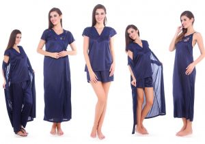 Fasense Satin Nightwear Sleepwear 5 PCs Nighty , Robe, Top, Shorts & Pj Set