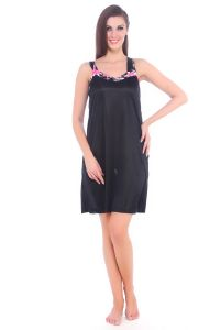 Fasense Women Satin Nightwear Sleepwear Short Slip Nighty Dp075 B