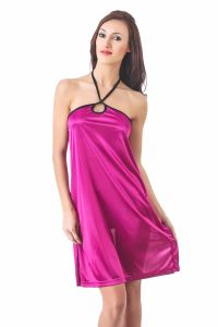 Triveni,La Intimo,Fasense,Gili,Arpera Women's Clothing - Fasense Women Stylish Satin Nightwear Sleepwear Short Nighty DP081 A