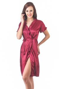 Kiara,La Intimo,Shonaya,Flora,Fasense Women's Clothing - Fasense Women Stylish Satin Nightwear Sleepwear Wrap Gown DP083 A