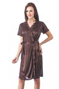 tng,surat tex,fasense Sleep Wear (Women's) - Fasense Women Stylish Satin Nightwear Sleepwear Wrap Gown DP083 B