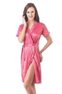 Fasense Women Stylish Satin Nightwear Sleepwear Wrap Gown Dp083 C