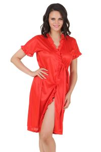 soie,flora,oviya,asmi,Fasense Night Suits - Fasense Exclusive Women Satin Nightwear Sleepwear Short Wrap Gown DP083 F