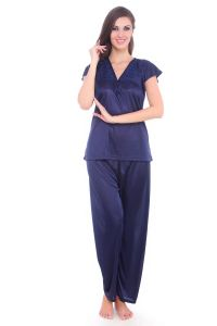 Fasense Women Stylish Satin Nightwear Sleepwear Top & Pyjama Set Dp092 C