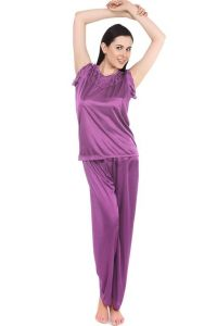 Fasense Women Stylish Satin Nightwear Sleepwear Top & Pyjama Set Dp093 A