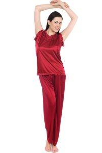 Pyjamas & lounge pants - Fasense Women Stylish Satin Nightwear Sleepwear Top & Pyjama Set DP093 C