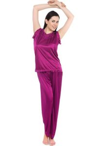 Fasense Women Stylish Satin Nightwear Sleepwear Top & Pyjama Set Dp093 D