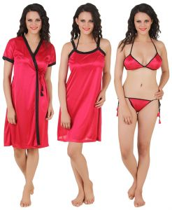 Kiara,Fasense,Flora,Triveni,Valentine,Kaamastra,Sukkhi,Shonaya,Cloe Women's Clothing - Fasense Exclusive Women Satin Nightwear Sleepwear 4 PCs Set, Nighty,DP100 A