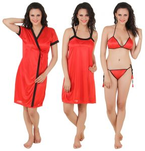 tng,jagdamba,fasense Nightgown Sets - Fasense Exclusive Women Satin Nightwear Sleepwear 4 PCs Set, Nighty,DP100 C