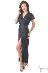 Fasense Women Stylish Satin Nightwear Sleepwear Wrap Gown Dp102 B