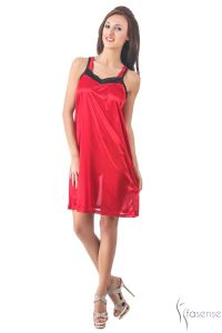 Triveni,La Intimo,Fasense,Gili,Arpera,Platinum Women's Clothing - Fasense Women Stylish Satin Nightwear Sleepwear Short Nighty DP104 A