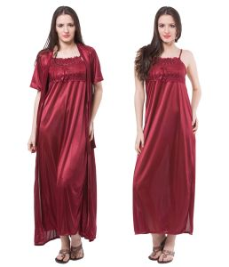 Fasense Women Satin Nightwear Sleepwear 2 PC Set Nighty & Wrap Gown Dp111 A