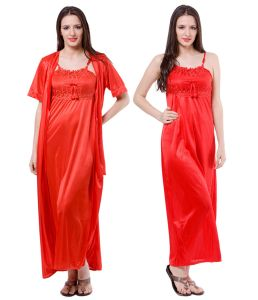 Hoop,Arpera,The Jewelbox,Estoss,Kaamastra,Sangini,Parineeta,Fasense Women's Clothing - Fasense Women Satin Nightwear Sleepwear 2 Pc Set Nighty & Wrap Gown DP111 C
