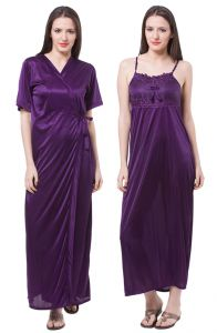 Shonaya,Arpera,The Jewelbox,Valentine,Estoss,Clovia,Kaamastra,Sangini,Ag,Parineeta,Triveni,Fasense Women's Clothing - Fasense Women Satin Nightwear Sleepwear 2 Pc Set Nighty & Wrap Gown DP111 E