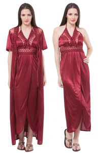 Fasense Women Satin Nightwear Sleepwear 2 PC Set Nighty & Wrap Gown Dp112 A