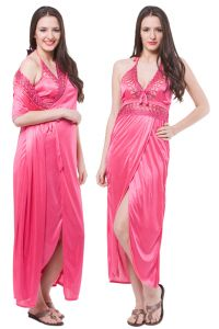 Fasense Women Satin Nightwear Sleepwear 2 PC Set Nighty & Wrap Gown Dp112 B