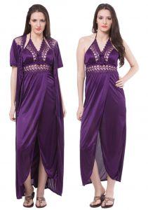 8b111970d477b Fasense Women Satin Nightwear Sleepwear 2 Pc Set Nighty & Wrap Gown DP112 E