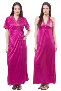 Kiara,Sukkhi,Jharjhar,Fasense,Jagdamba,Mahi,Jpearls,Asmi,Kaara,Ag Women's Clothing - Fasense Women Satin Nightwear Sleepwear 2 Pc Set Nighty & Wrap Gown DP113 D