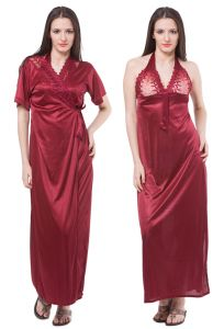 Fasense Women Satin Nightwear Sleepwear 2 PC Set Nighty & Wrap Gown Dp113 A
