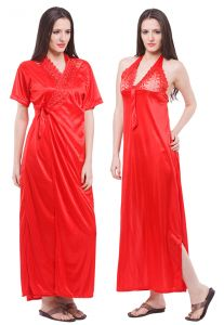 Fasense Women Satin Nightwear Sleepwear 2 PC Set Nighty & Wrap Gown Dp113 C