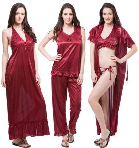 Triveni,My Pac,Clovia,Arpera,Tng,Fasense,Mahi,Sukkhi,Kiara Women's Clothing - Fasense 6 PCs Nightwear Set Nighty Wrap Gown Top Pyjama Bra Thong DP114 A
