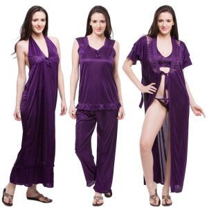 jagdamba,surat diamonds,valentine,jharjhar,asmi,cloe,fasense Sleep Wear (Women's) - Fasense Exclusive Women Satin Nightwear Sleepwear 6 PCs Set Of Nighty, Wrap