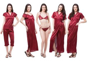 Jagdamba,Surat Diamonds,Valentine,Jharjhar,Asmi,Fasense,Gili Women's Clothing - Fasense Exclusive Women Satin Nightwear Sleepwear 6 PCs Set Of Nighty DP115 A