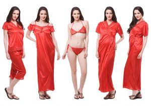 Kiara,Fasense Women's Clothing - Fasense Exclusive Women Satin Nightwear Sleepwear 6 PCs Set Of Nighty DP115 C