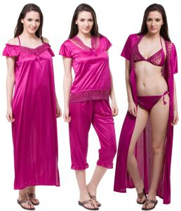 kiara,fasense Sleep Wear (Women's) - Fasense Exclusive Women Satin Nightwear Sleepwear 6 PCs Set Of Nighty DP115 D