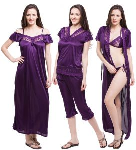 Fasense Exclusive Women Satin Nightwear Sleepwear 6 PCs Set Of Nighty Dp115 E