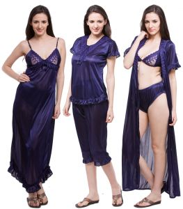 Port,Ag,Cloe,Oviya,Fasense Women's Clothing - Fasense Exclusive Women Satin Nightwear Sleepwear 6 PCs Set Of Nighty DP116 B