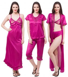 Fasense Exclusive Women Satin Nightwear Sleepwear 6 PCs Set Of Nighty, Wrap Dp116 D