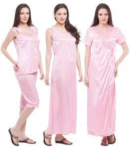 Rcpc,Kalazone,Jpearls,Fasense Women's Clothing - Fasense Exclusive Women Satin Nightwear Sleepwear 4 PCs Set Of Long Nighty DP117 B