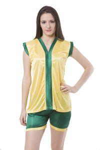 Night Suits - Fasense Exclusive Women Satin Nightwear Sleepwear Top & Shorts Set, DP119 C