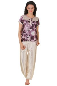 Fasense Exclusive Women Satin Nightwear Nightsuit Top & Pyjama Set Dp123