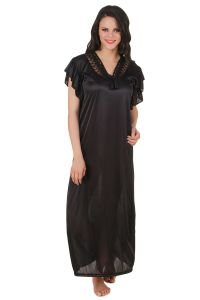 Rcpc,Kalazone,Jpearls,Fasense,Shonaya,Sleeping Story,Bagforever,Soie,Diya Women's Clothing - Fasense Exclusive Women Satin Nightwear Sleepwear Long Nighty DP136 B