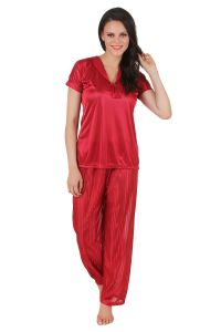 Fasense Exclusive Women Satin Nightwear Nightsuit Top & Pyjama Set Dp137