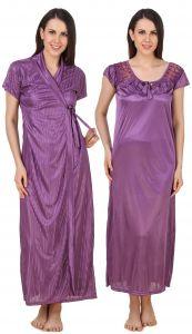 Embroidered Nightgowns - Fasense Exclusive Women satin Nightwear Sleepwear 2 PCs Set Nighty & Wrap