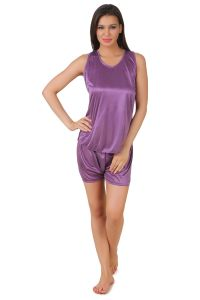 soie,flora,oviya,asmi,Fasense Night Suits - Fasense Exclusive Women Satin Nightwear Top & Shorts Set, DP144 A