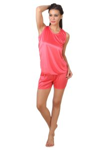 soie,flora,oviya,asmi,Fasense Night Suits - Fasense Exclusive Women Satin Nightwear Top & Shorts Set DP144 D