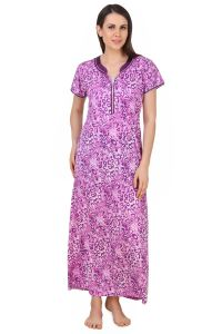 soie,flora,oviya,fasense,the jewelbox,kaamastra Nightgowns - Fasense Exclusive Women Shinker Cotton Nightwear Sleepwear Long Nighty.