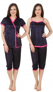 Fasense Women Satin Nightwear 3 PC Set Short Wrap Gown,top & Capry Dp176 C