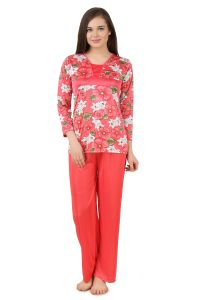 Fasense Women Satin Nightwear Nightsuit Top & Pyjama Set, Dp178 A