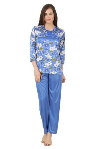 Fasense Women Satin Nightwear Nightsuit Top & Pyjama Set, Dp178 C