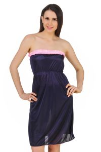 Fasense Women Satin Nightwear Sleepwear Off Sholder Short Nighty Dp182 C