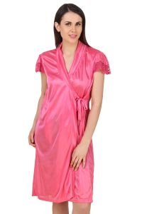 Fasense Women Satin Nightwear Sleepwear Short Wrap Gown Dp183 B