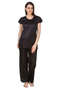 Fasense Women Satin Nightwear Sleepwear Top & Pyjama Set Dp184 B